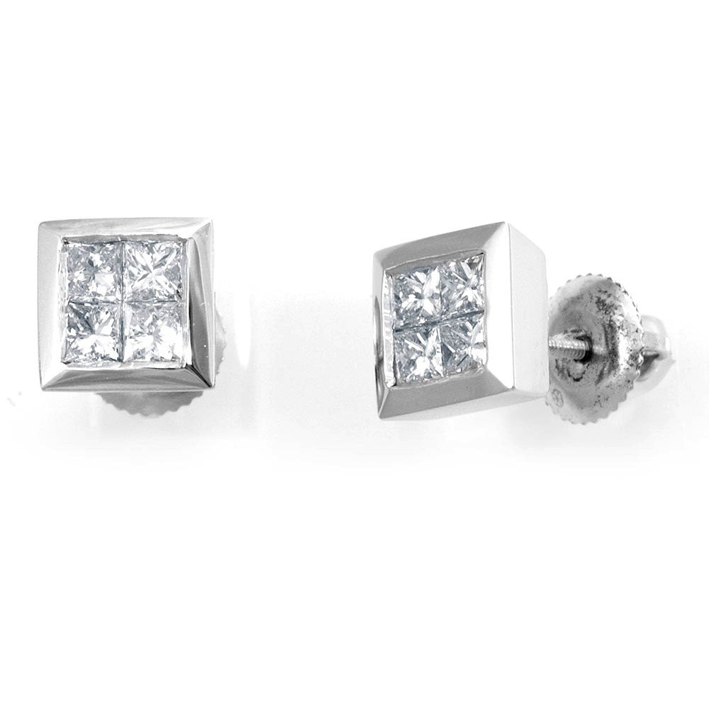 Princess Cut Diamond in 14K White Gold Stud Earrings