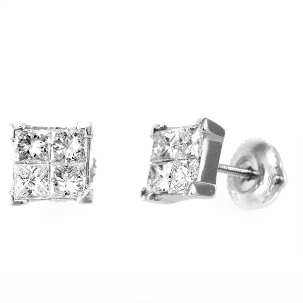 14K White Gold Square Stud Earrings