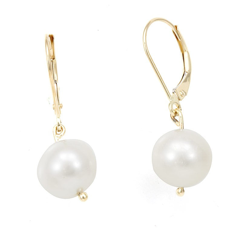 Pearl Dangling Earrings with 14K Yellow Gold Lever Back