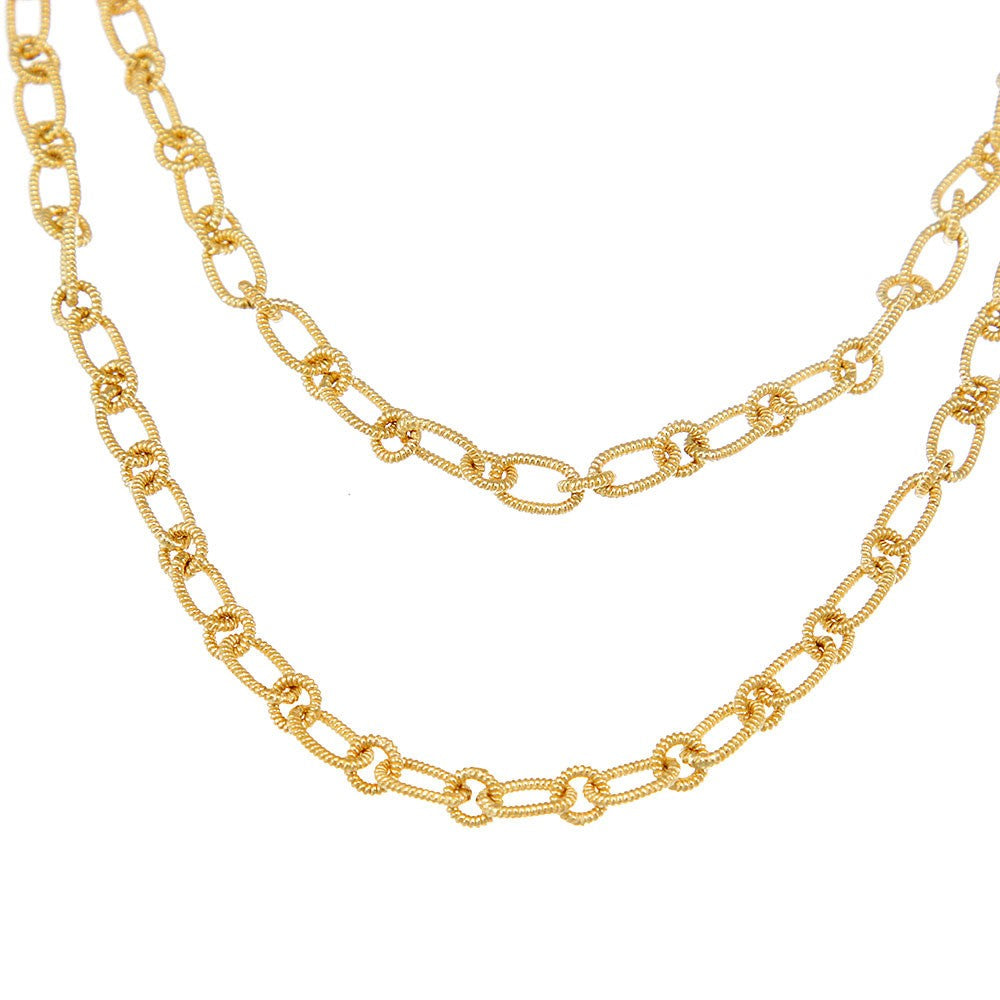 Round and Oval Shape Link 14K Yellow Chain Necklace
