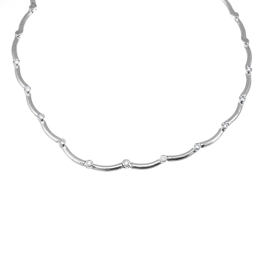 14K White Gold Link with Bezel set Round Diamonds Necklace