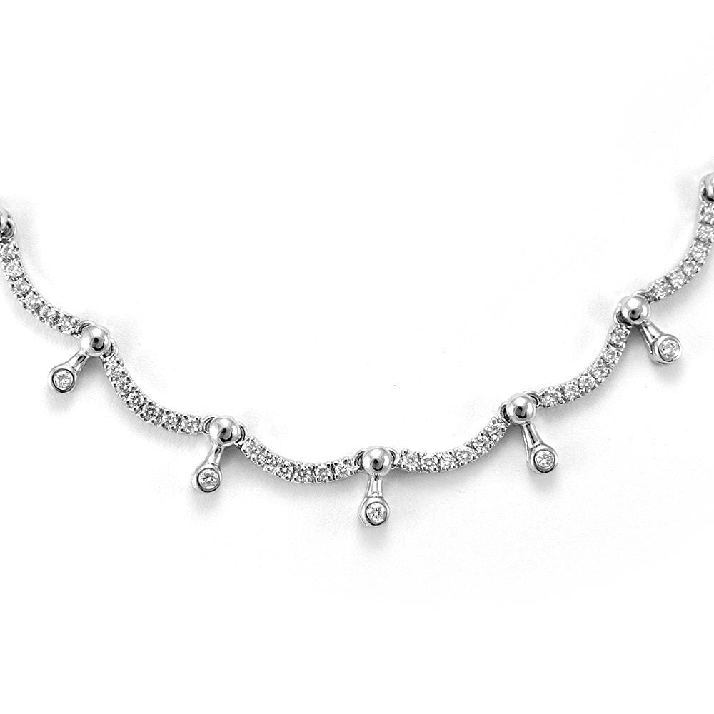 14K White Gold Drop Down Diamond Links Necklace