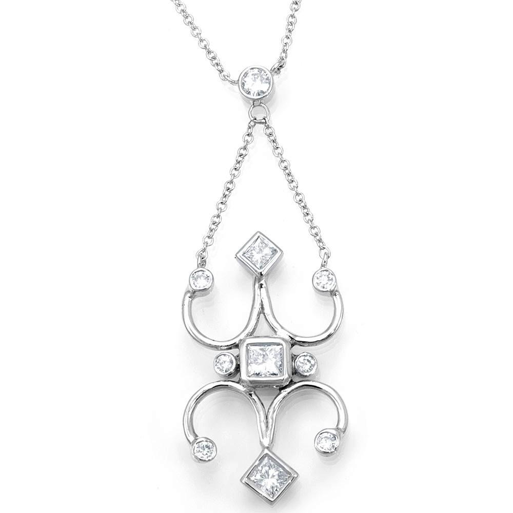 Victorian Inspired 14K White Gold Diamond Necklace