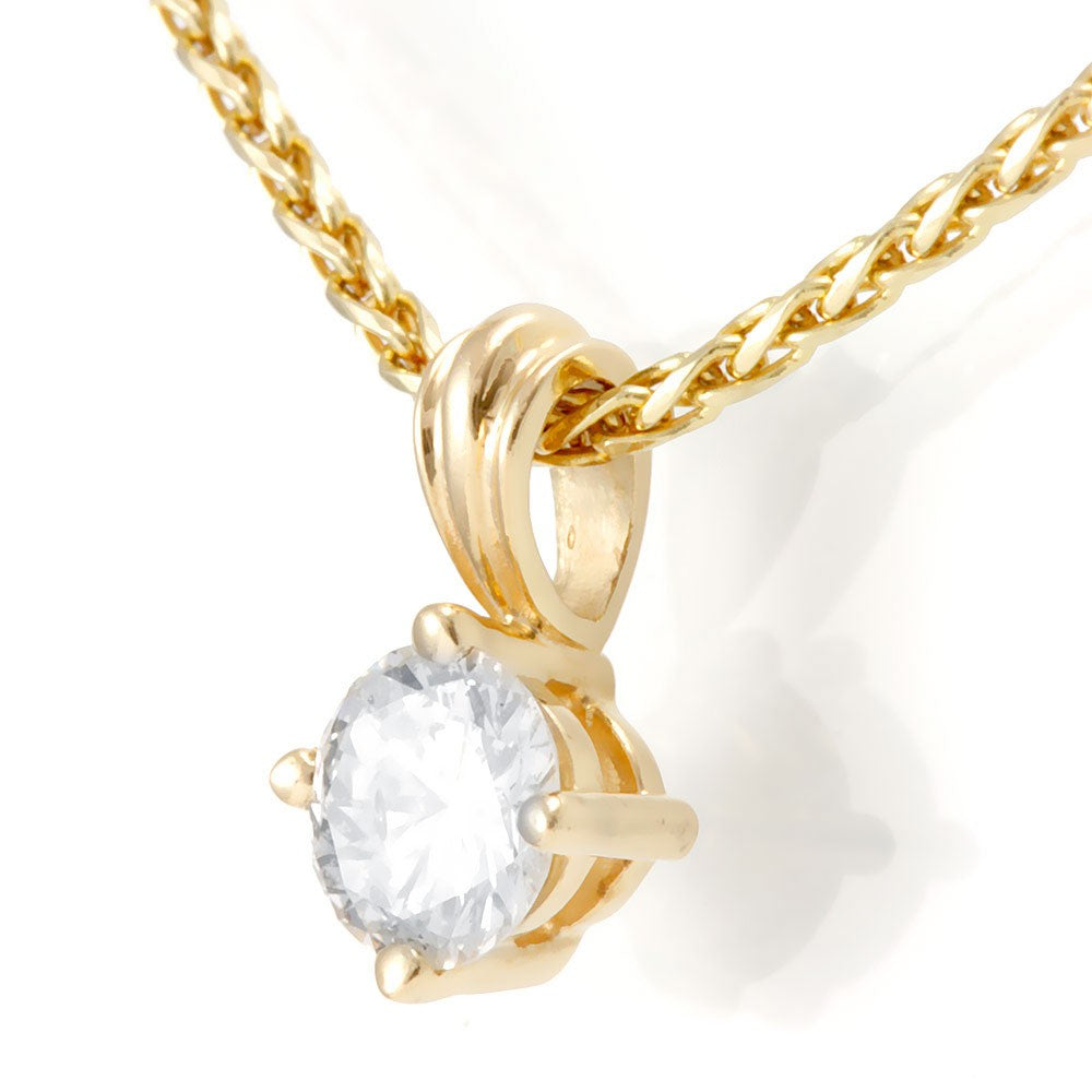 14K Yellow Gold Solitare Diamond Pendant Necklace
