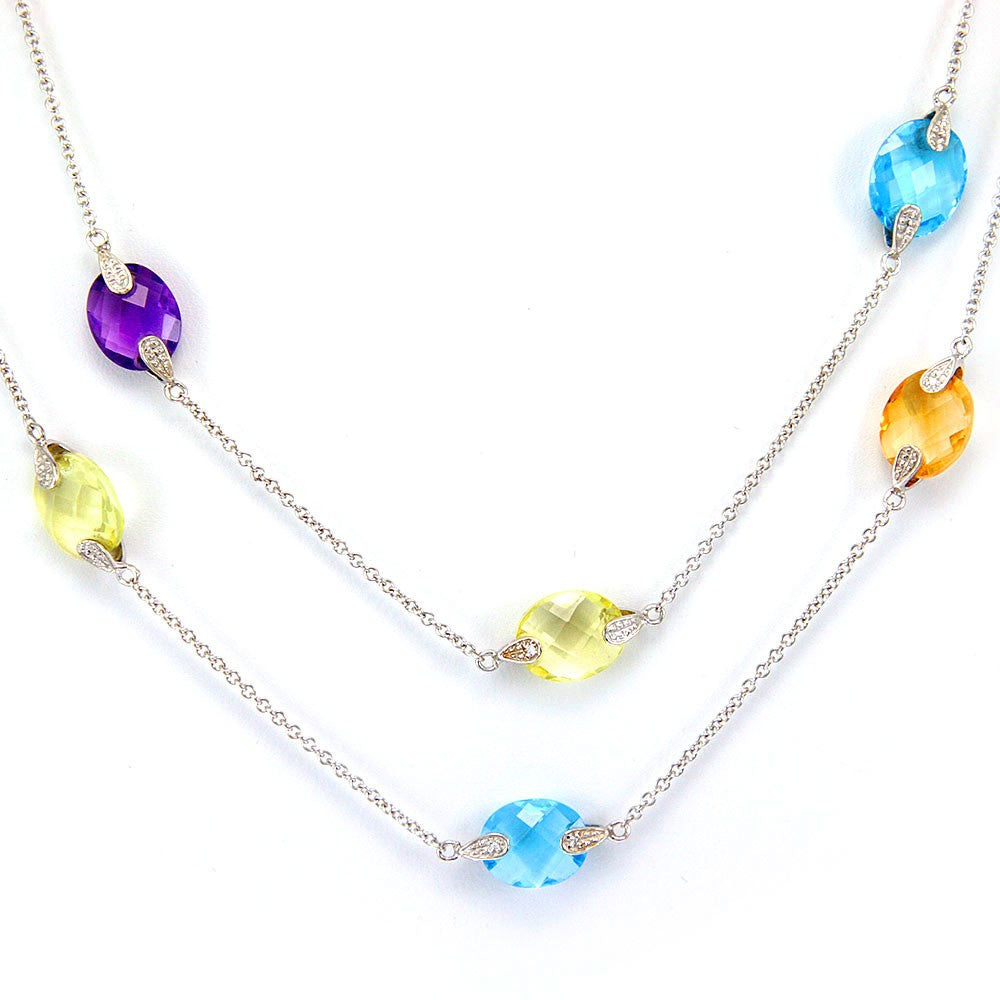 Multi Colored Precious Stones By the Yard Necklace