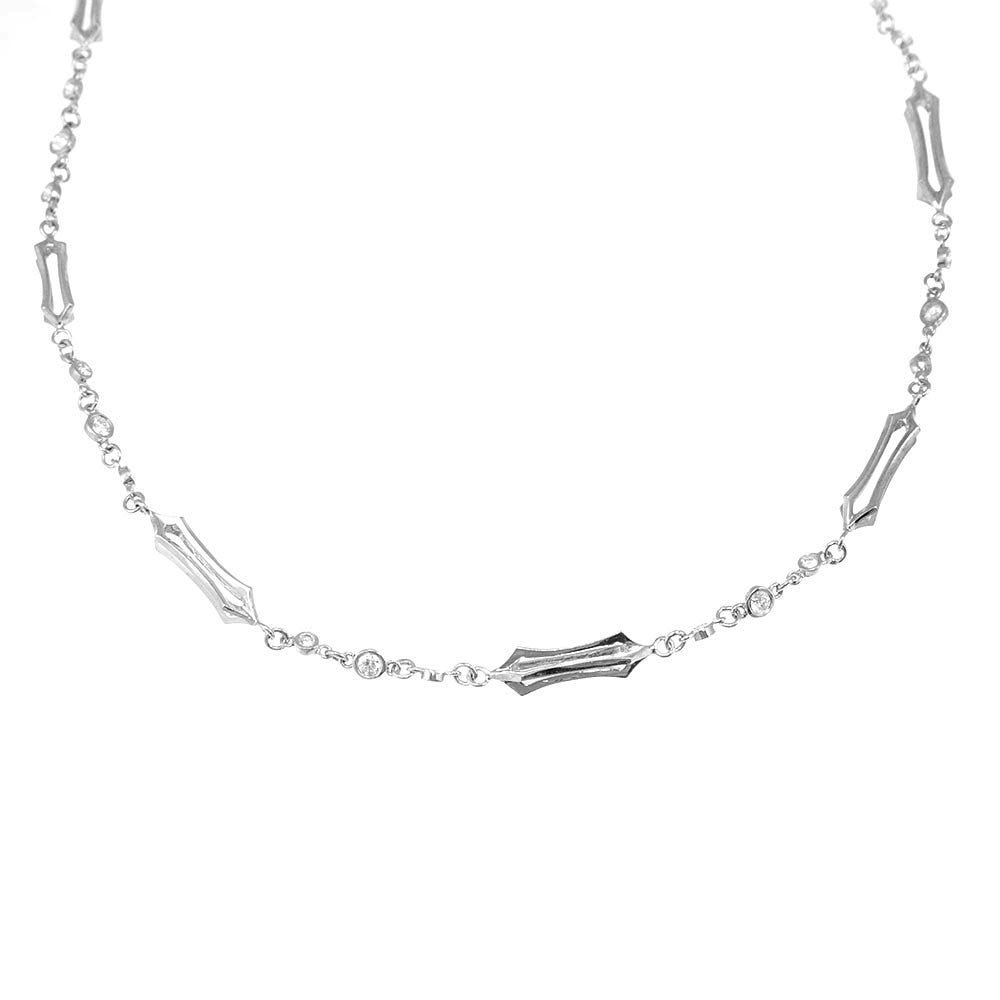 Bezel Set Round Diamond and 14K White Gold Links Necklace