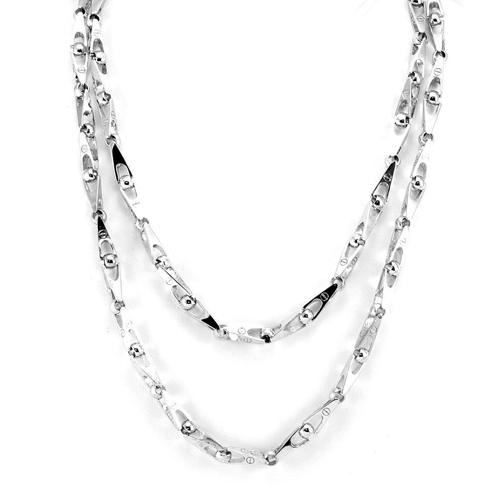 Solid 14K White Gold Link Necklace +UK Shipping