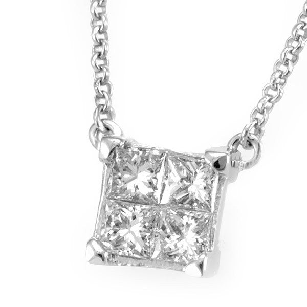 14K White Gold Square Pendant Necklace with Princess Cut Diamonds