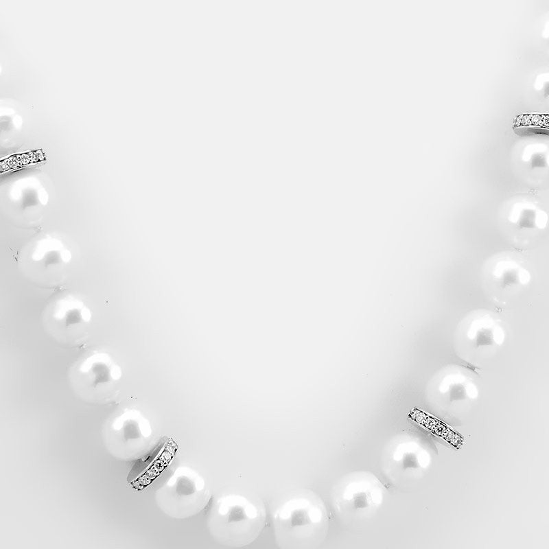 White Pearl Necklace with 14K White Gold Diamond Roundels