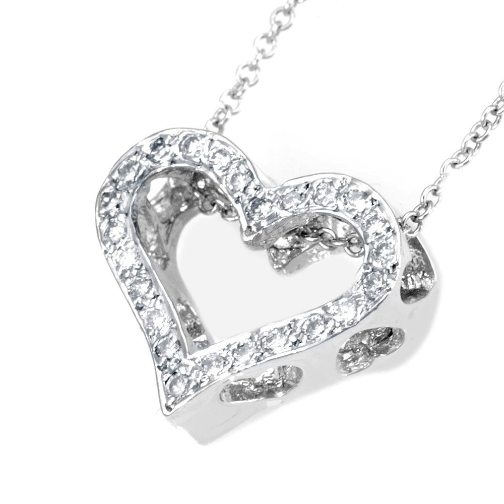 Cut Out Diamond Heart Pendant in 14K White Gold