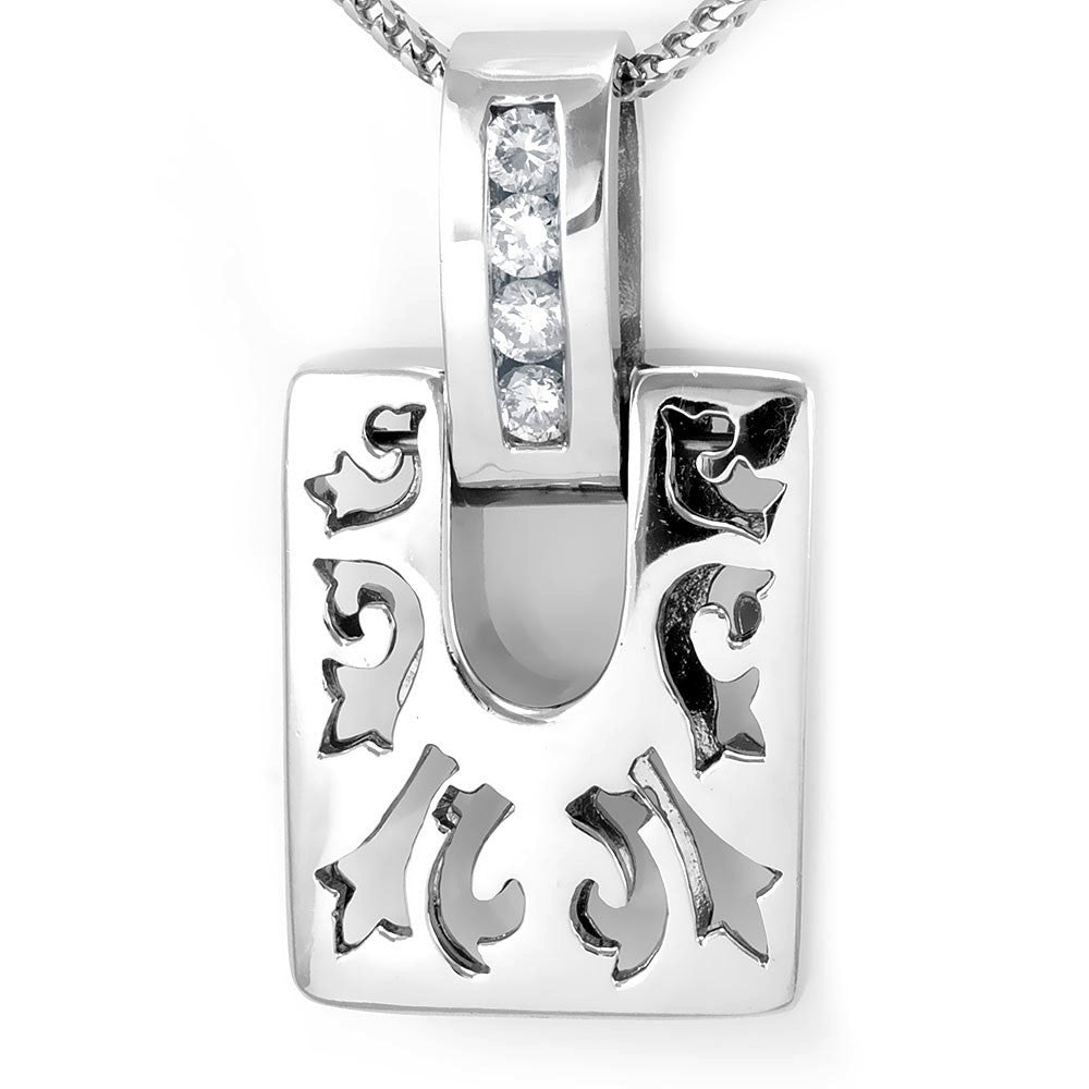 Square Cut Out Designs Diamond Pendant in 14K White Gold
