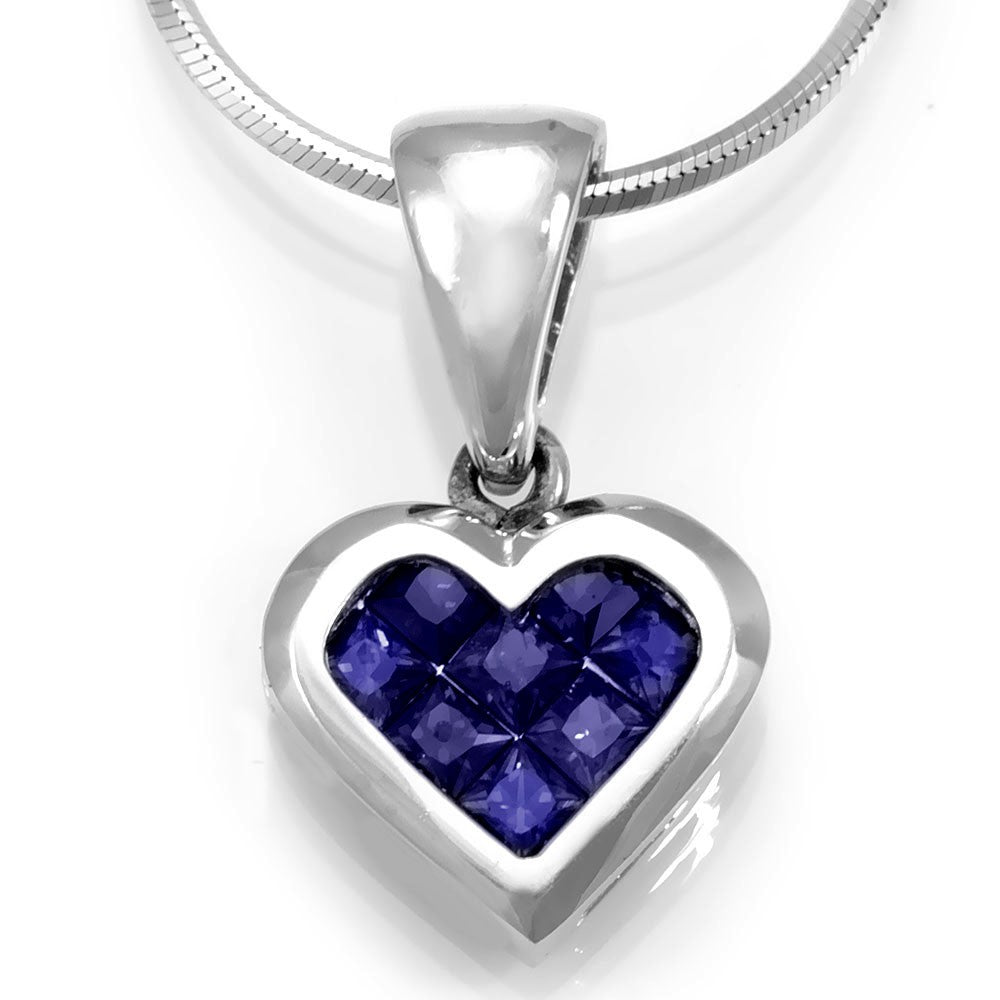 14K White Gold Heart Pendant with Blue Sapphires