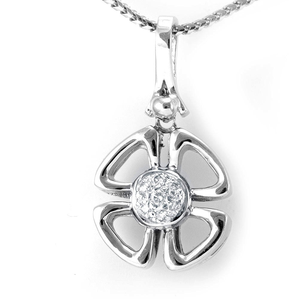 14K White Gold Diamond Clover Pendant