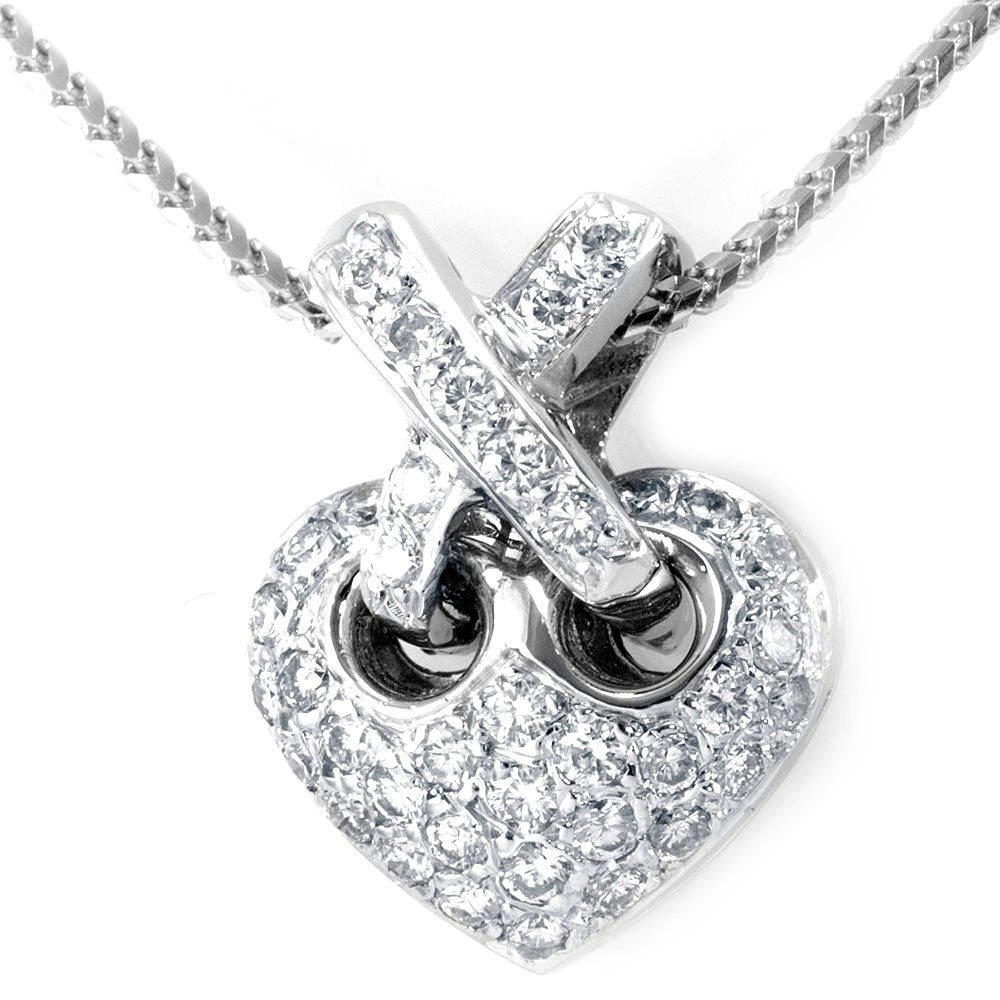Diamond Heart Pendant with X Bale in 14K White Gold