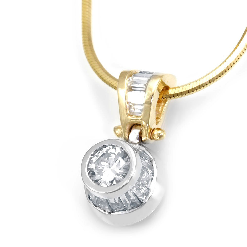 14K Two Tone High Bezel Pendant with Baguette Diamonds