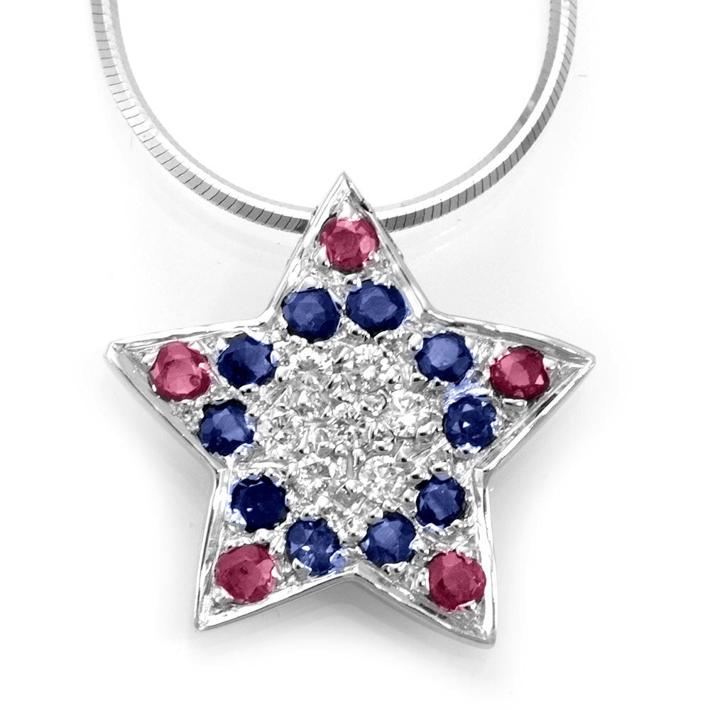 Rubies and Sapphires Star Pendant in 14K White Gold