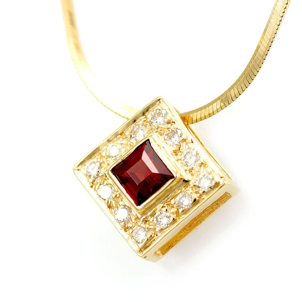 Diamond and Garnet Square Pendant in 14K Yellow Gold