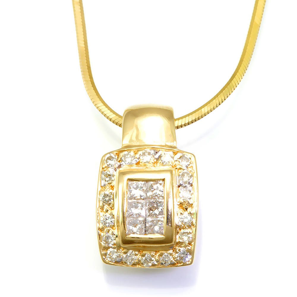 14K Yellow Gold Pendant with Princess Cut and Round Diamonds