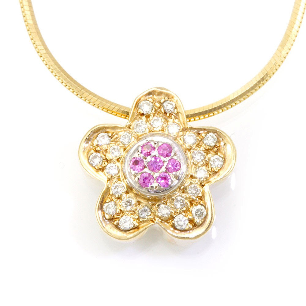 14K Yellow Gold Diamond and Pink Sapphire Clover Pendant