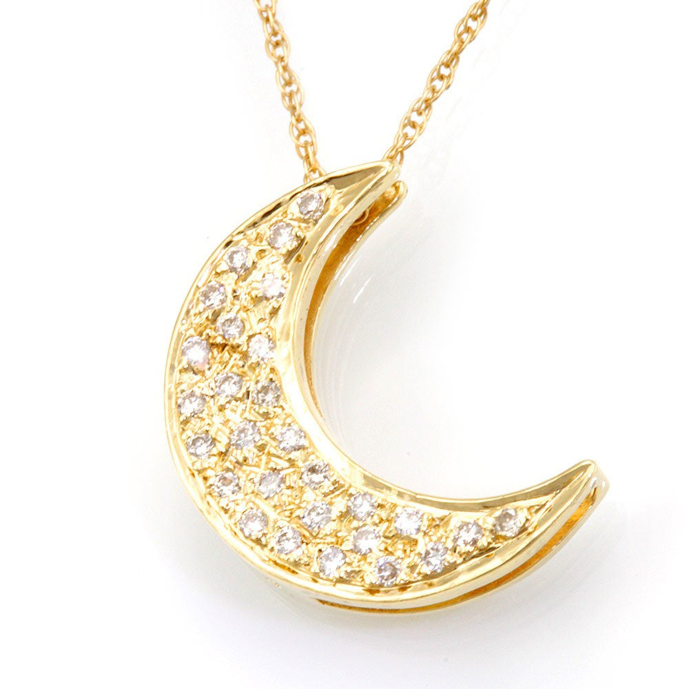 14K Yellow Gold Diamond Crescent Moon Pendant