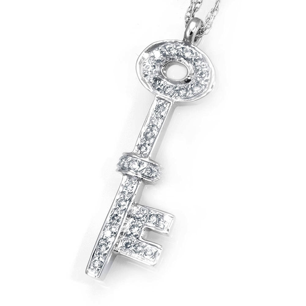 Diamond Key Pendant in 14K White Gold