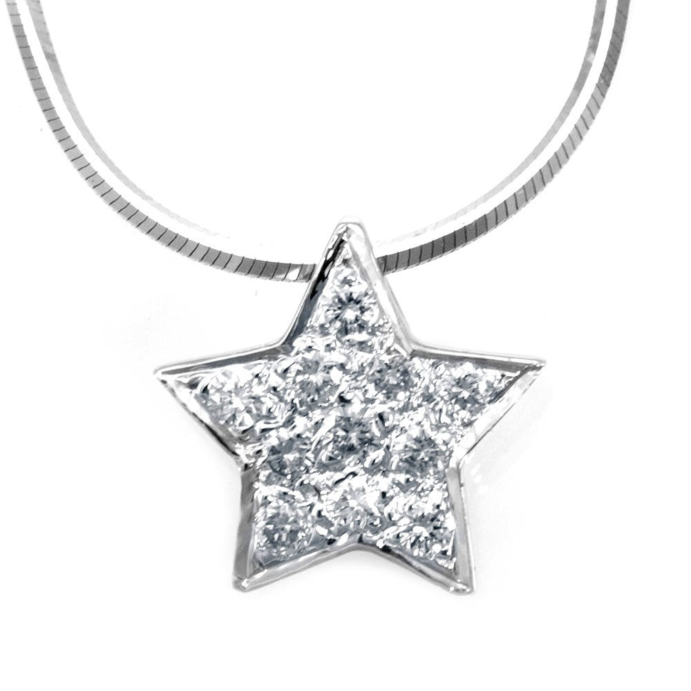 Star Diamond Pendant in 14K White Gold