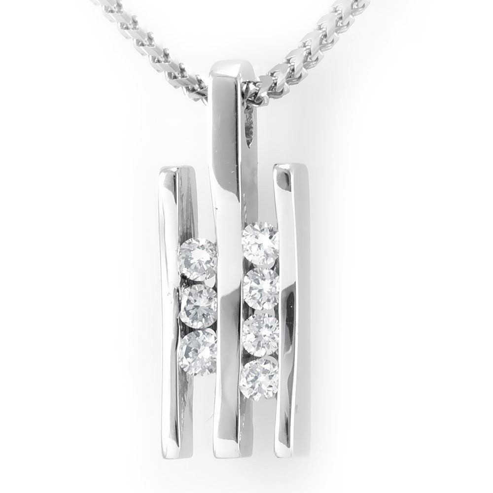 Double Bar Diamond Slider Pendant in 14K White Gold