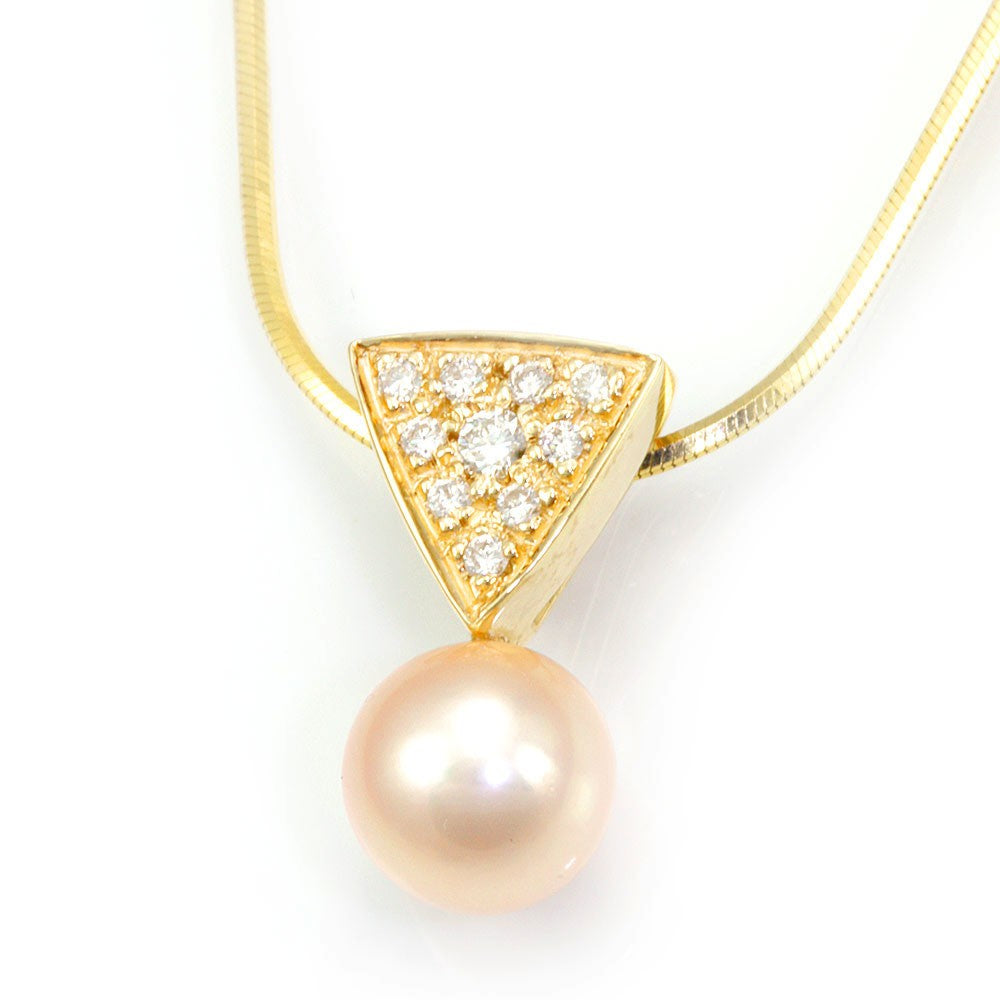 Champagne Pearl Diamond Slider Pendant in 14K Yellow Gold