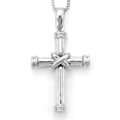 Solid 14K White Gold Cross Pendant with Boston Chain