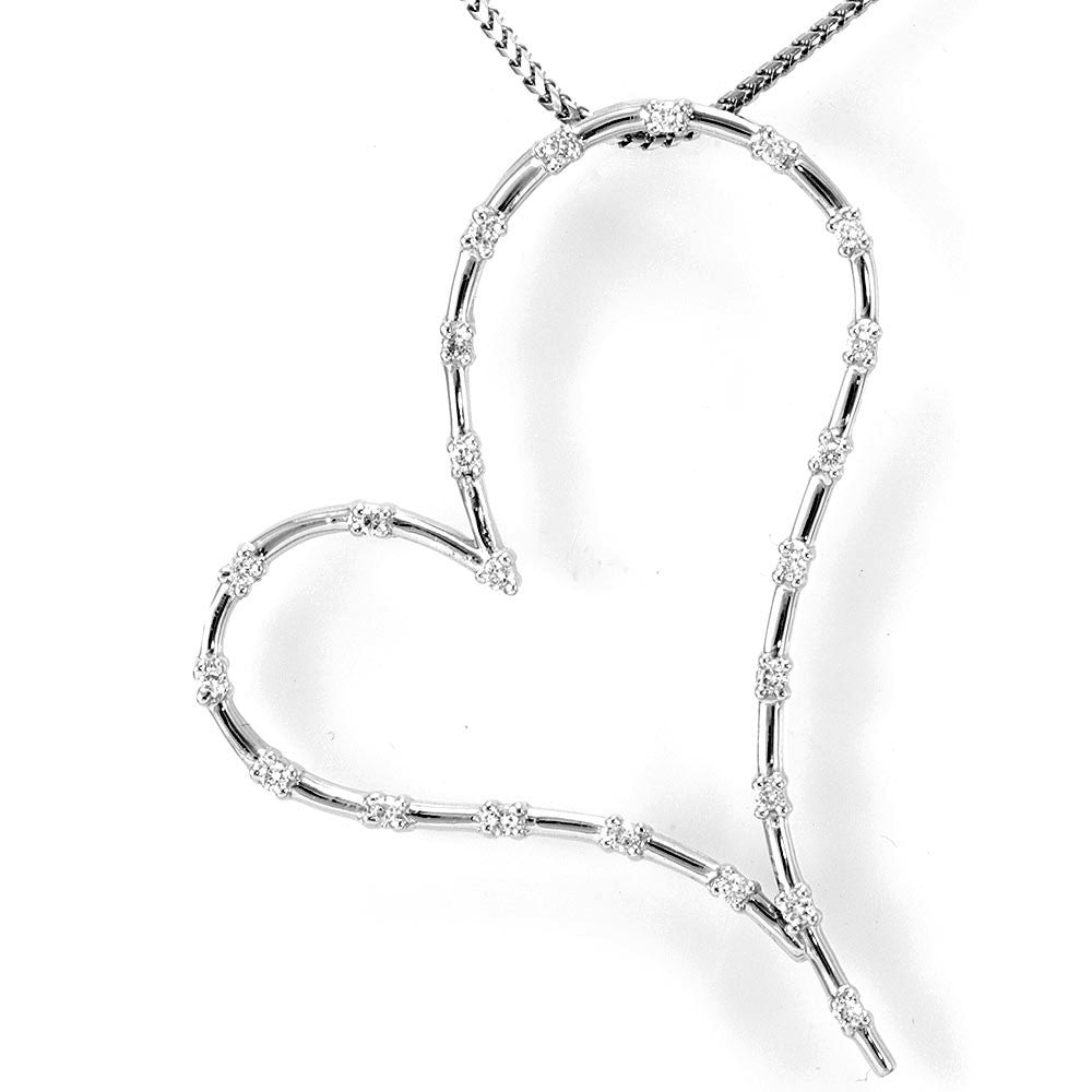 Sideways Heart Diamond Pendant in 14K White Gold