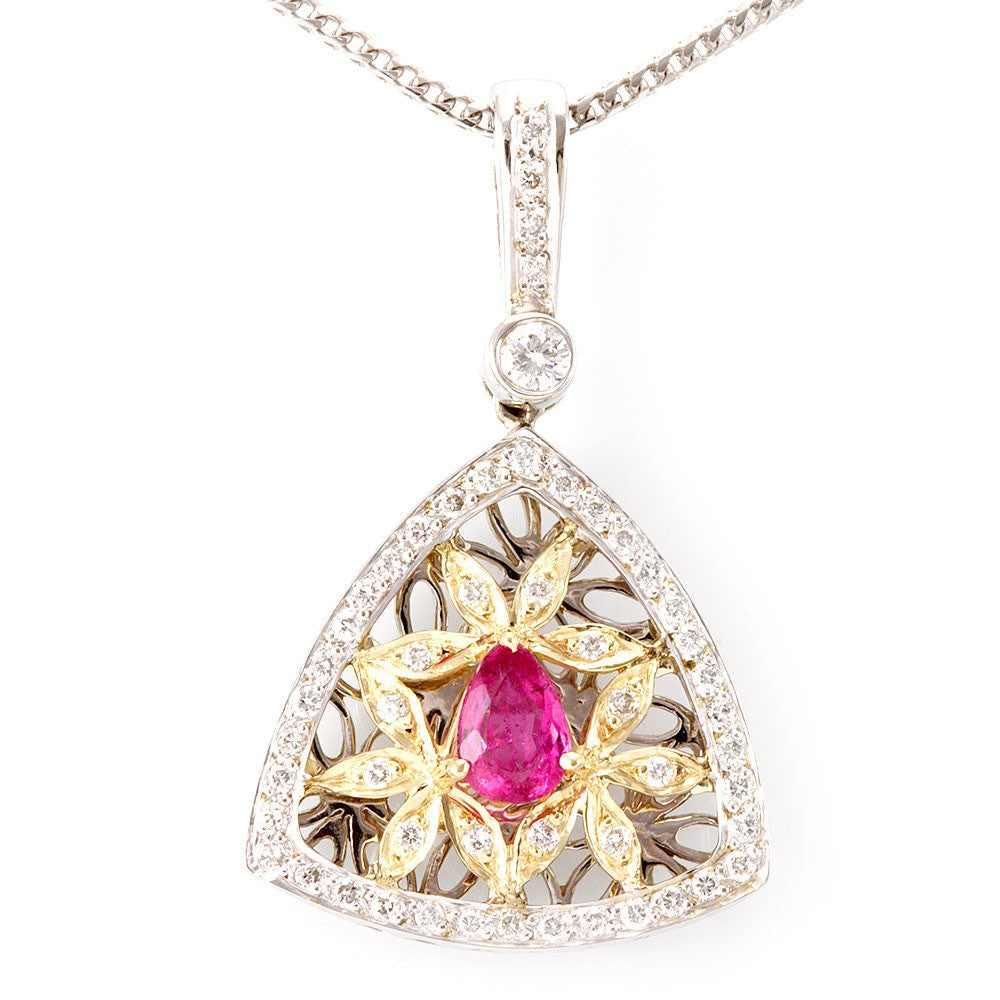 Victorian Inspired Diamond and Pink Tourmaline Pendant in 14K Two Tone