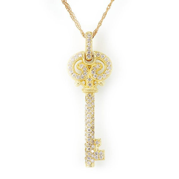 Key Diamond Pendant in 14K Yellow Gold