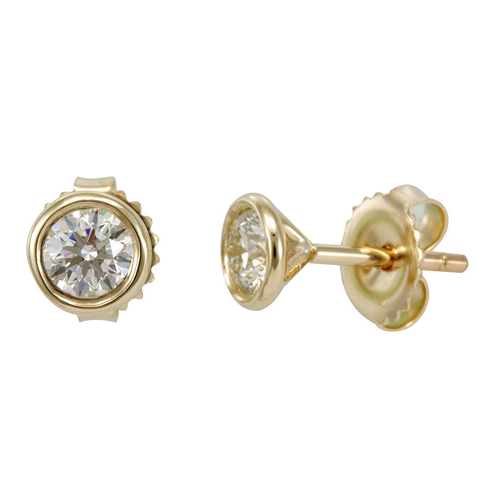 14K Yellow Gold Bezel Round Diamond Stud Earrings