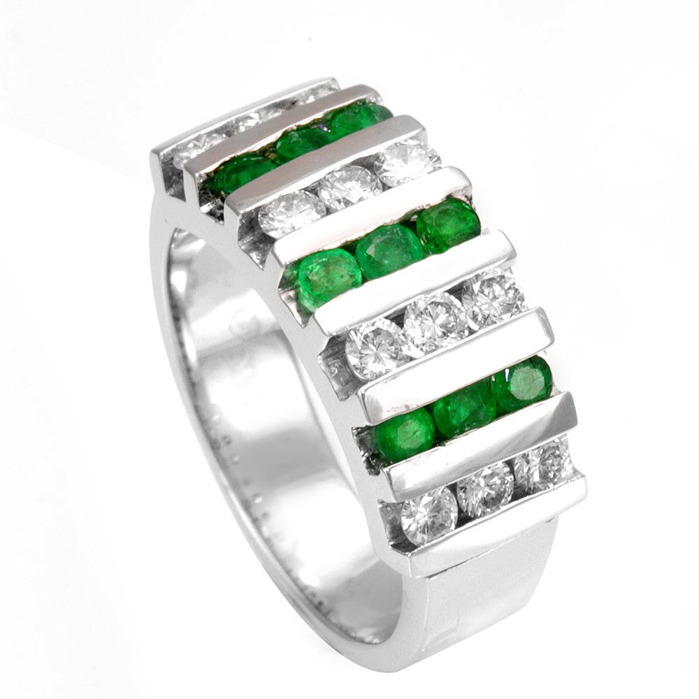 Round Diamonds and Emerald in Wide 14K White Gold Band