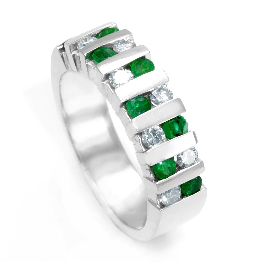2 Row Round Diamond and Emeralds in 14K White Gold Band
