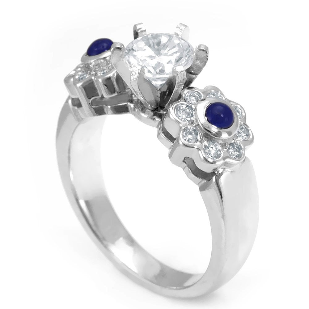 Round Diamond and Blue Sapphire Ring in 14K White Gold