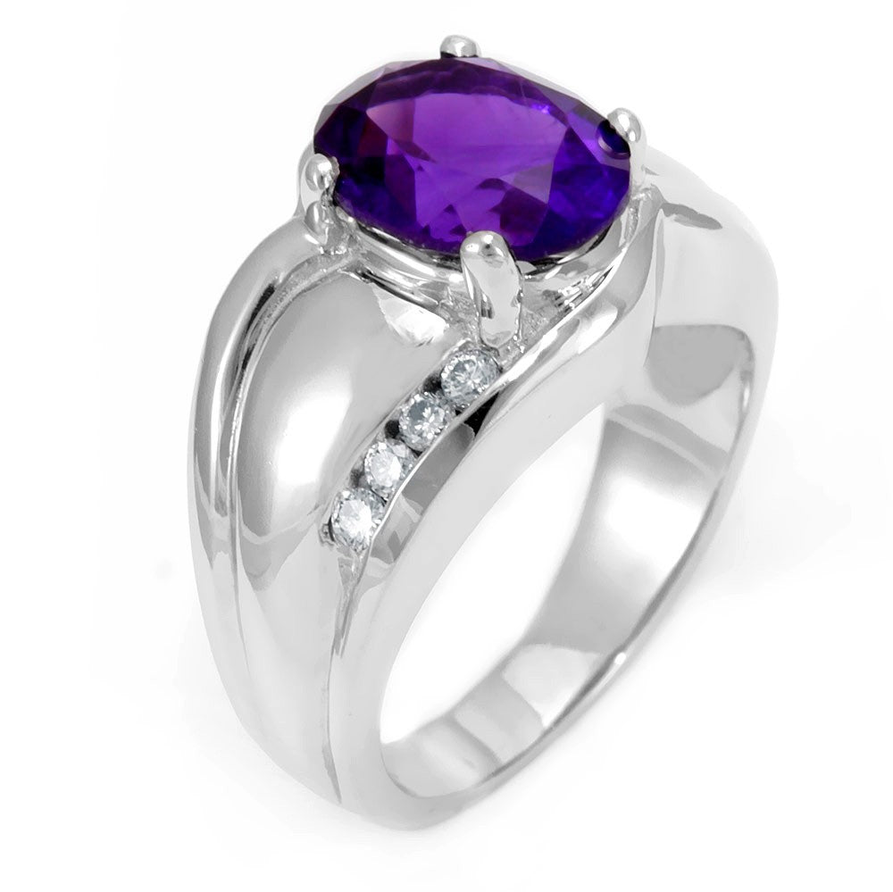 18K White Gold Diamond and Oval Amethyst Ring