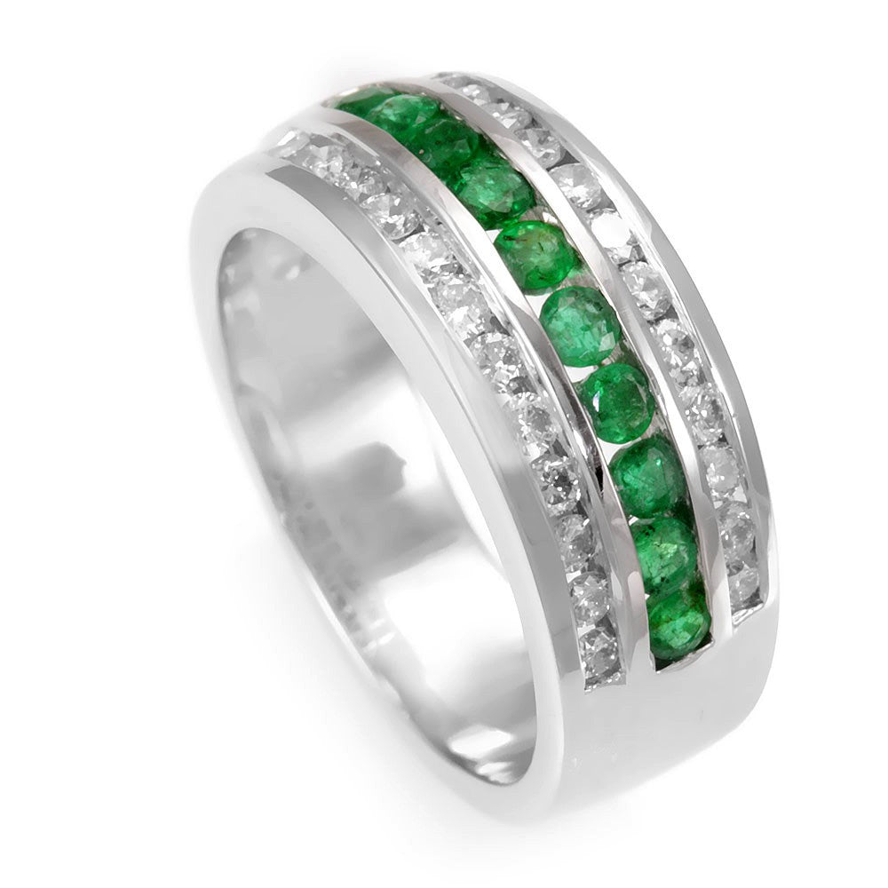 18K White Gold Diamond and Emerald Wide Band