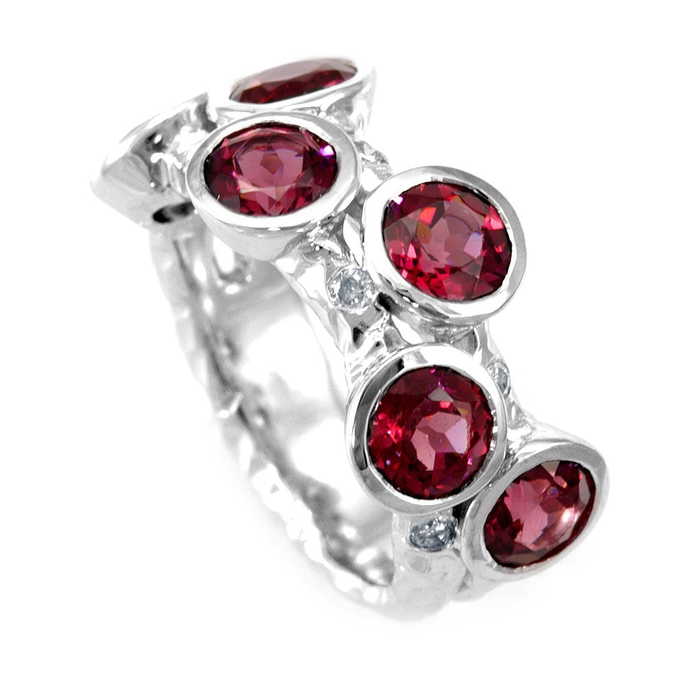 Garnet and Round Diamonds in 14K White Gold Ring