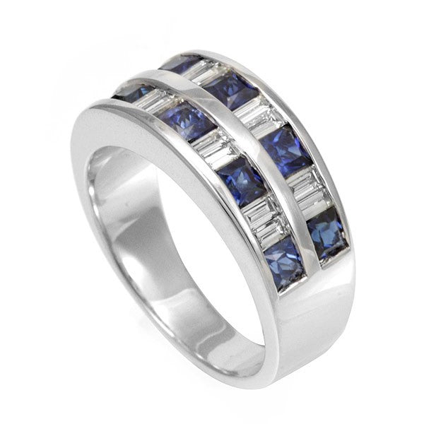 Baguette and Square Blue Sapphires in 14K White Gold Band