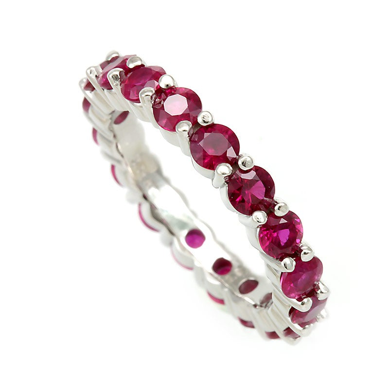 Eternity Ring with Rubies in 14K White Gold