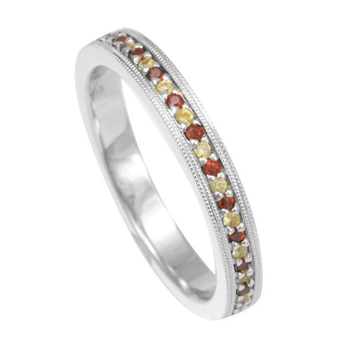 Eternity Ring with Garnet And Yellow Sapphires in 14K White Gold