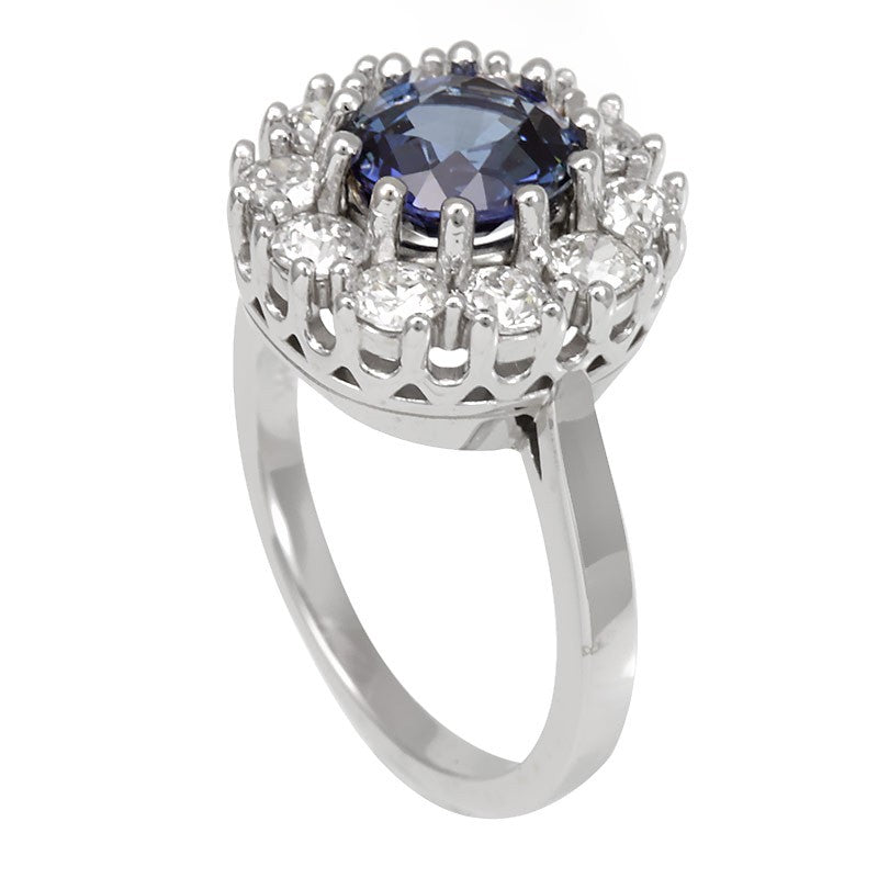 Blue Sapphire and Round Diamonds in 14K White Gold Cluster Ring