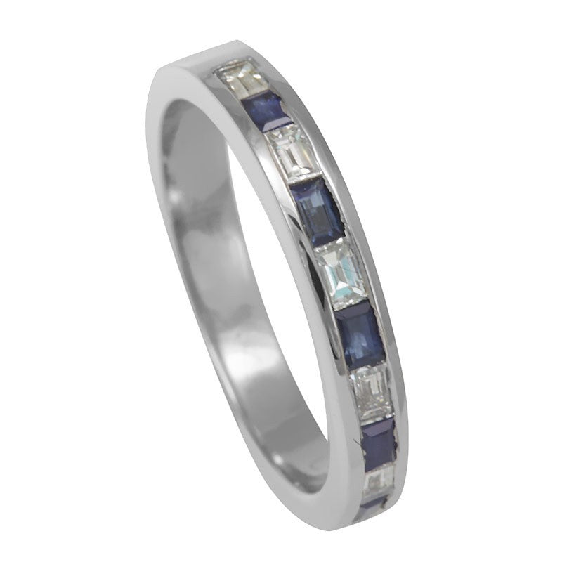 Baguette Sapphire and Diamonds in 14K White Gold Band