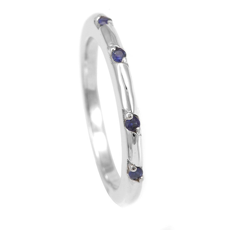 Blue Sapphire Band in 14K White Gold