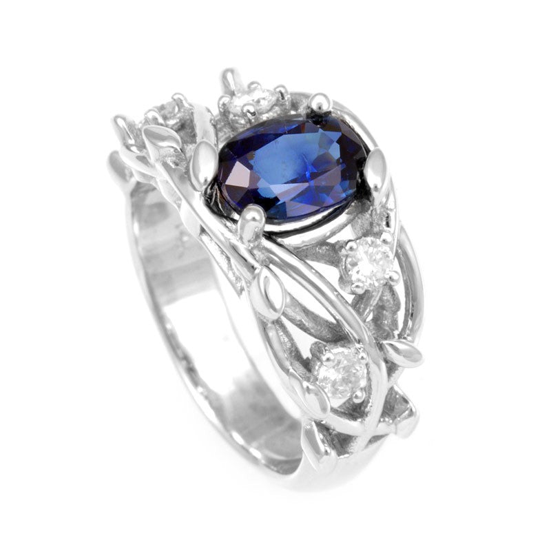 Oval Blue Sapphire and Round Diamonds in 14K White Gold Unique Ring