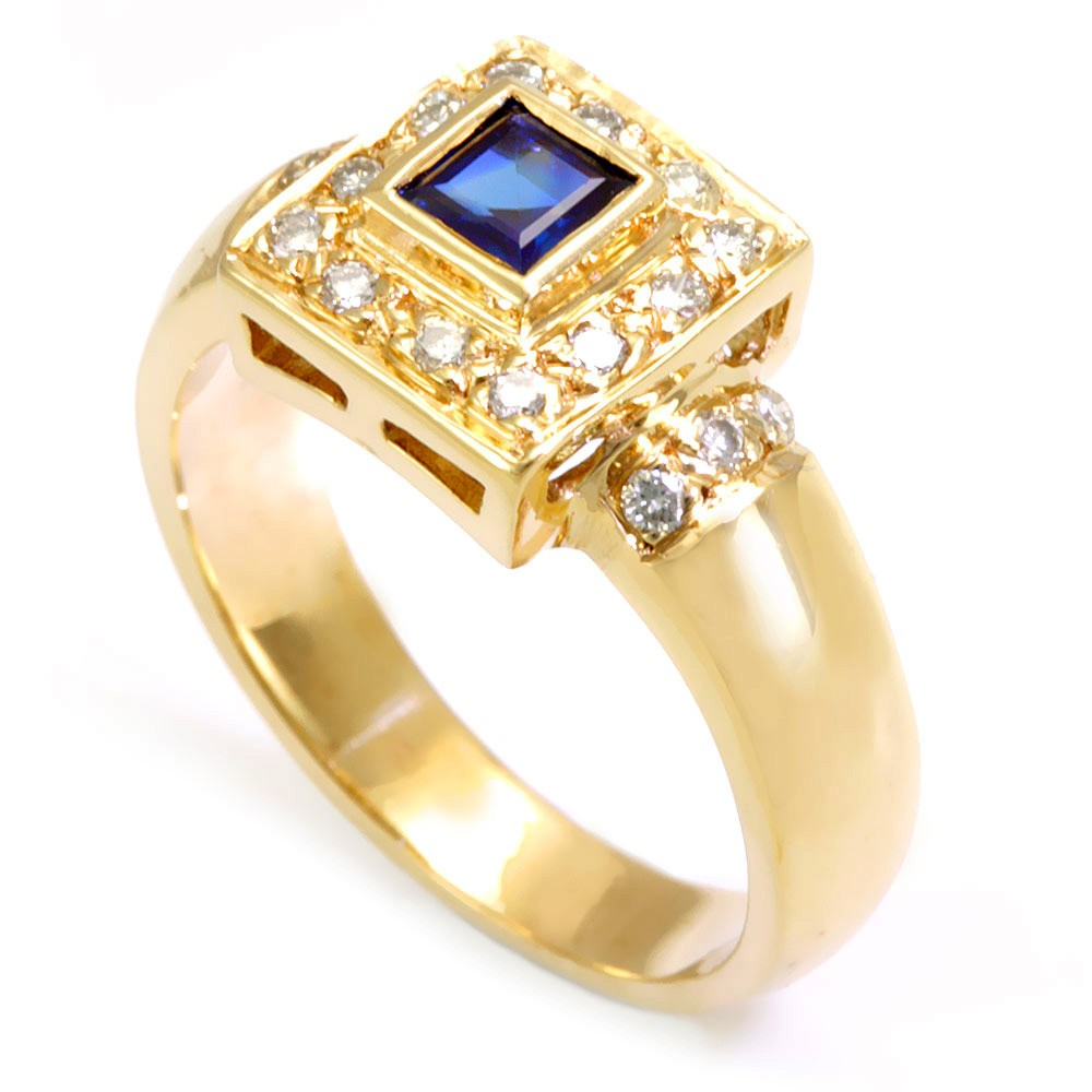 Blue Sapphire and Round Diamond Ring in 14K Yellow Gold