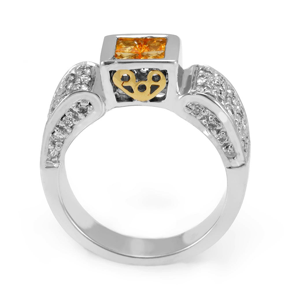 Yellow Sapphire and Round Diamonds in 14K Two Tone Ring