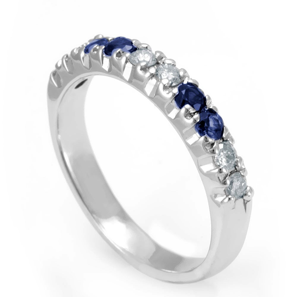 Blue Sapphire and Round Diamonds Band in 14K White Gold
