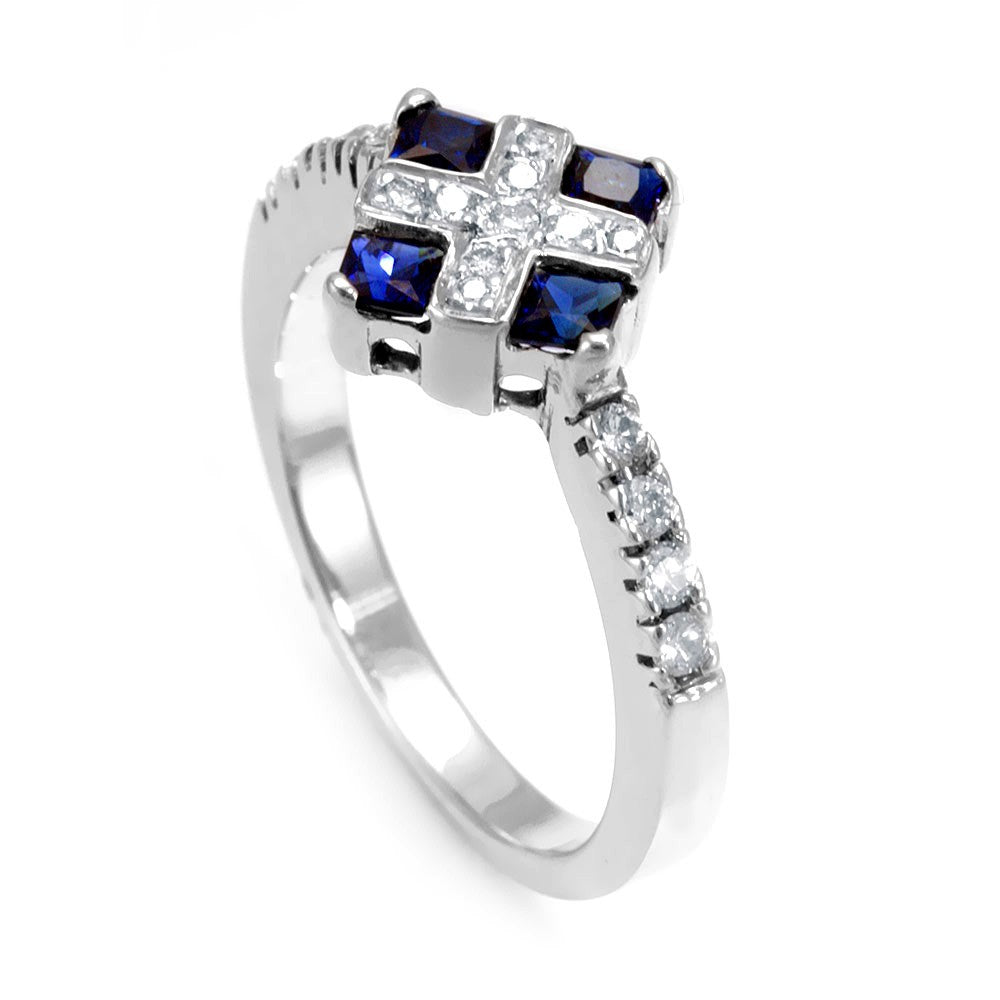 Blue Sapphire and Round Diamond Ring in 14K White Gold